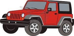 red jeep clipart jeep wrangler vector image