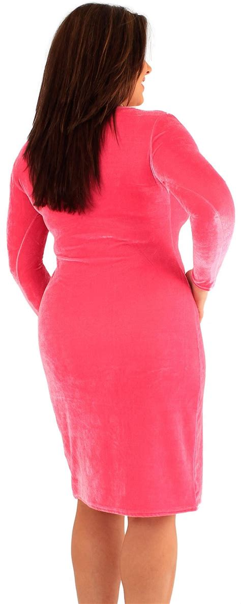 New Womens Plus Size Velvet Long Sleeve Bodycon Midi Dress