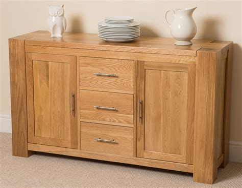 Sideboard Furniture by Kuba Solid Oak Wood Large Sideboard 3 Drawers And 2 Doors