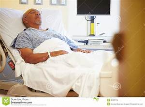 Senior Male Patient Resting In Hospital Bed Royalty Free ...