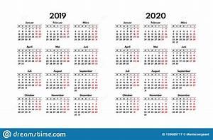 Calendar Grid Simple 2019 2020 German Calendar Grid Starts Monday Stock