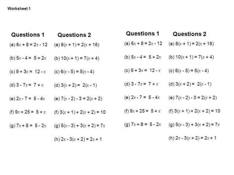 equations with variables on both sides worksheet