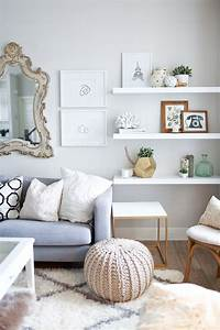 living room shelves 10 Ways To Work With Floating White Shelves