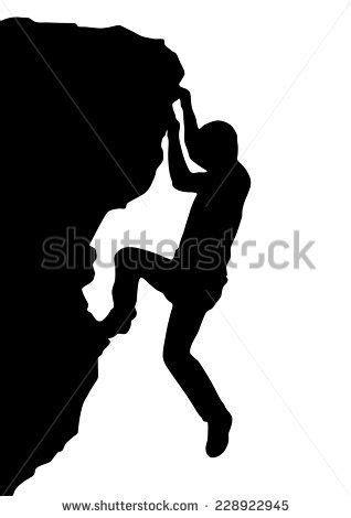 Vector silhouette rock climber, successful concept (con