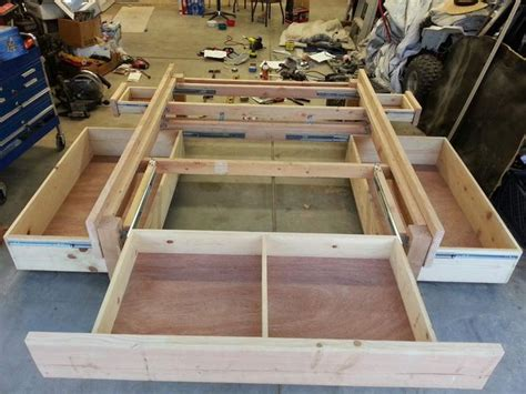 woodwork diy bed frame  drawers plans  plans