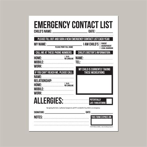 emergency contact form  nanny babysitter  daycare