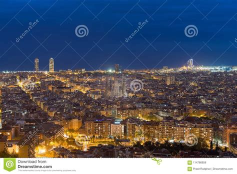 Top View Of Barcelona City Skyline During Evening In ...