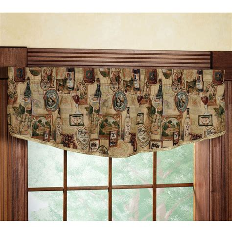 wine bottle curtains wine and grapes tapestry valance home napa gathered