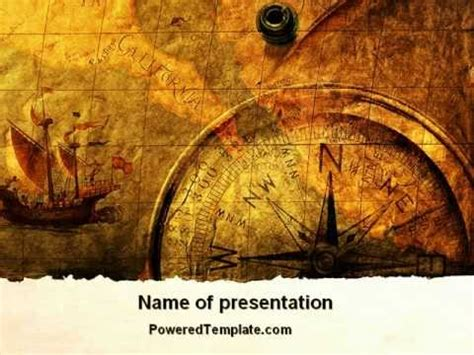 ancient map  compass powerpoint template