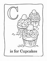 Cupcake Coloring Pages Cupcakes Printable Cup Cakes Cute Birthday Facile Print Adults Colouring Cake Candy Food Adult Easy Sweet Alphabet sketch template
