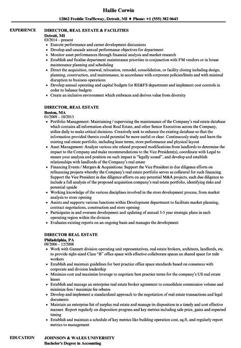 Real Estate Resume by Director Real Estate Resume Sles Velvet