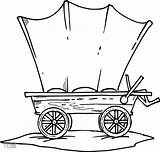 Wagon Coloring Stagecoach Wheel Covered Line Drawing Template sketch template