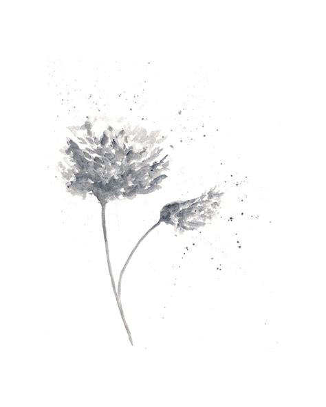 Abstract Black Flower Painting by Watercolor Painting Watercolor Flowers Flower Print
