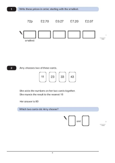 questions 1 and 2 paper a 2010 maths worksheets for ks2