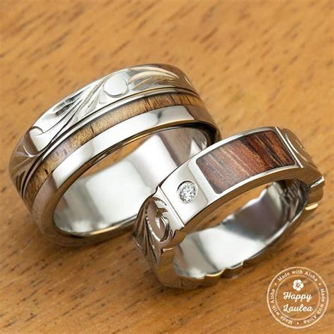 pair of 6 8mm assorted titanium wedding rings with koa inlay engraved with
