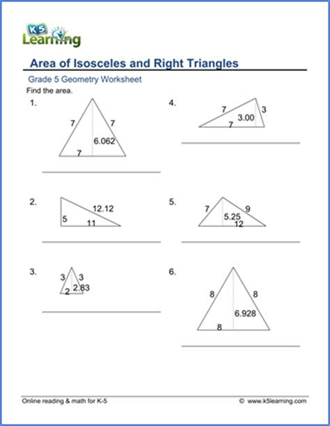grade 5 geometry worksheets area of triangles k5 learning