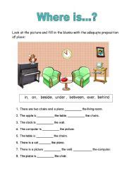 Prepositions Of Place  Esl Worksheet By Carlaalves