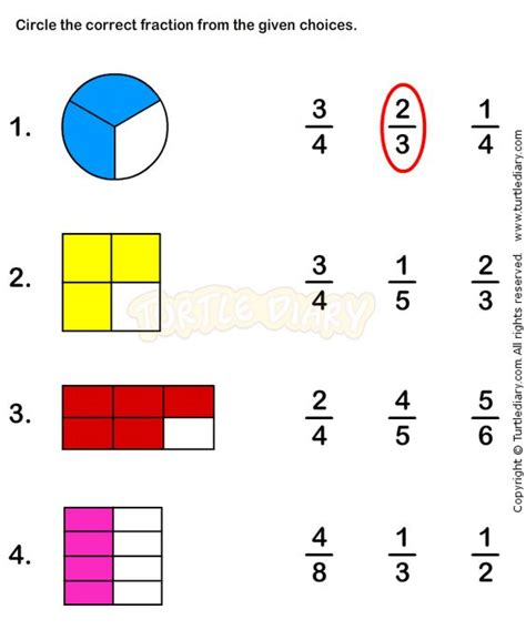 fractions worksheet 3 math worksheets grade 1