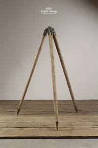 Plain Letter Vintage Industrial Wooden Tripod Light Stand