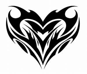 Black Ink Tribal Heart Tattoo Design