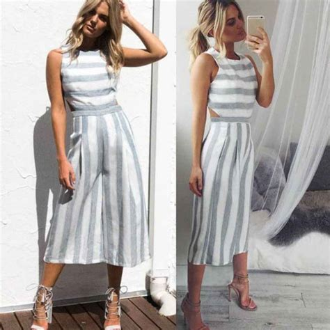Women Summer Sleeveless Striped Jumpsuit Casual Clubwear Wide Leg Pants Outfits White L2 | eBay