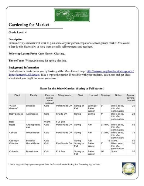 school garden lesson plan gardening for market