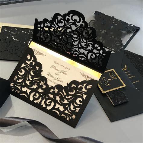 Black and Gold Lasercut Invitation Red Rose Invitations