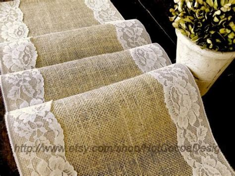rustic table linens for weddings country wedding table runner burlap and lace wedding