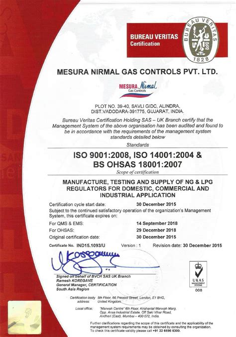 bureau veritas italy iso 9001 iso 14001 and ohsas 18001 certifications for