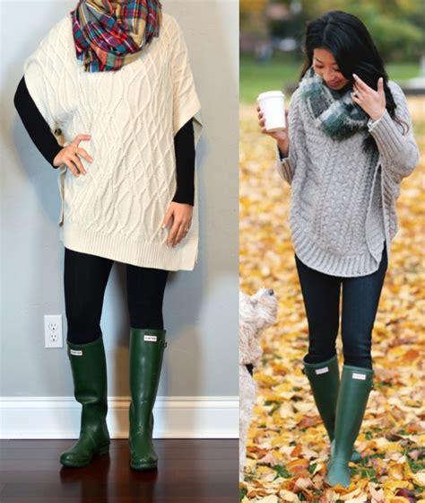 Outfit post cowl neck cable knit cape black leggings green u2018welliesu2019 rain boots plaid ...