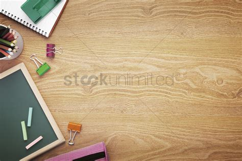 Desk Background School Supplies On Desk Background With Copy Space Stock