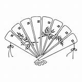 Fan Japanese Coloring Chinese Pages Fans Wood Stamp Sketch Mounted Template sketch template