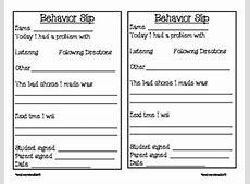 Student Behavior Slip by Special Teacher for Special Kids
