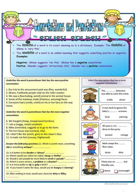 connotations and denotation worksheet free esl printable