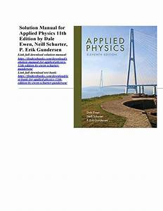 Solution Manual For Applied Physics 11th Edition By Ewen