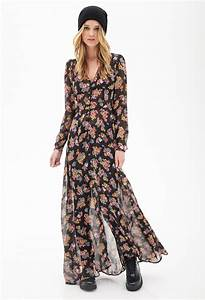 lyst forever 21 floral chiffon maxi dress in pink With robe longue fleur