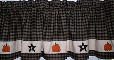 hand painted pumpkins stars valance primitive country