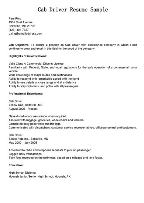 Taxi Cab Driver Resume Sample (With images) | Driver job