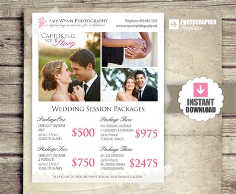 wedding photographer cost wedding photography price list session by photographtemplates