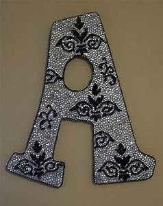 Rhinestone damask decorative wall letters nursery decor for Rhinestone letter wall decor