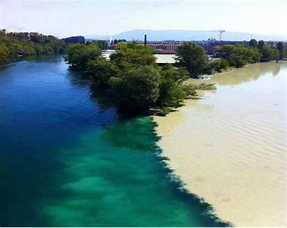 Rhone River Rivers Europe Arve Confluence Travel