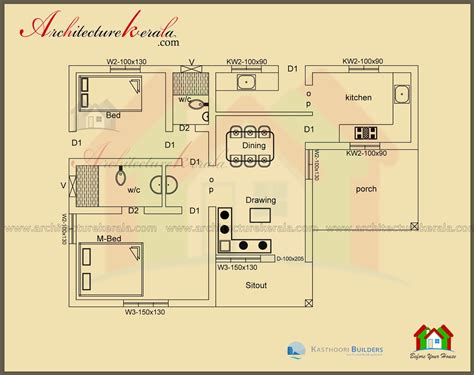two bedroom cottage house plans below 1000 square house plan and elevation