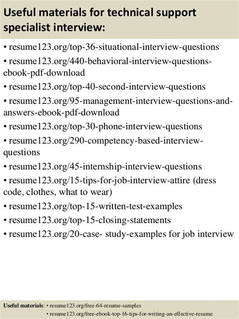 top 8 technical support specialist resume sles