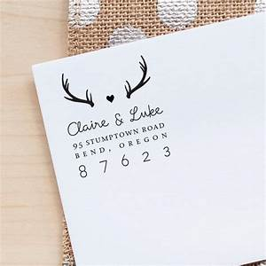 personalized return address stamp antlers address stamp With return address rubber stamps for wedding invitations