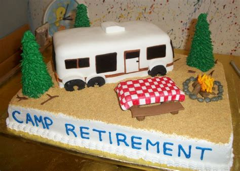 camping theme retirement cake  great outdoors
