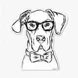 Glasses Dane Decal Drawing Bow Tie Dog Dogs Harvey Sticker Puppy Wearing Owner Cat Zoom Lover Gifts Getdrawings sketch template