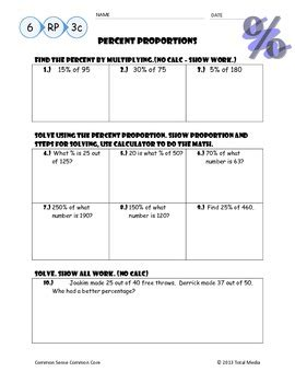 Percents And Proportions Worksheets Resultinfos