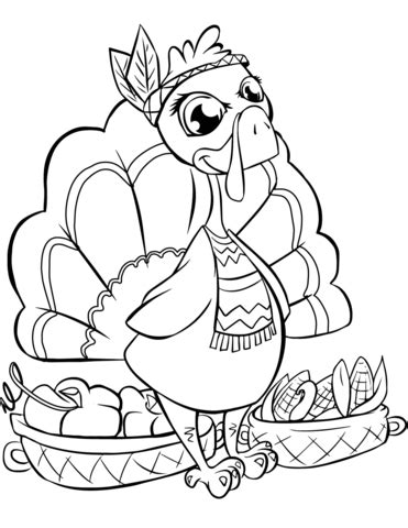 Cute Turkey with Baskets coloring page Free Printable