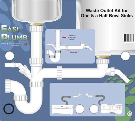 kitchen sink plumbing kit easi plumb waste outlet kit for one and a half bowl sink 5904