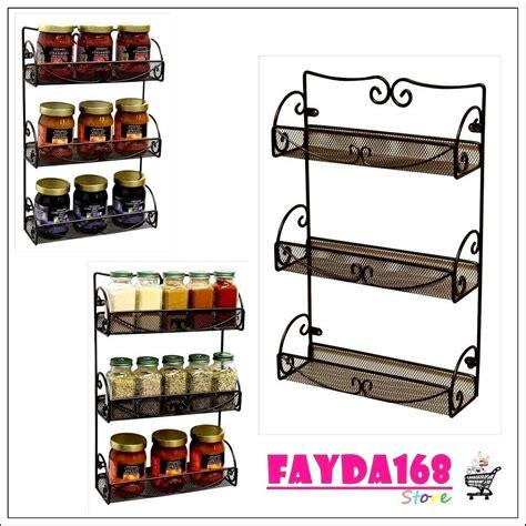 Wire Spice Rack Organizer by Storage Shelf 3 Tier Wall Mounted Spice Rack Kitchen